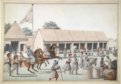Street scene probably in Lucknow, with shops and traders; a horseman with retainers is riding by.